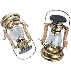 LHY LIGHT Vintage Lanternes Solaires Bougeoir Suspendu en Plein Air Imperméable sans Flamme Bougie Jardin Éclairage sans Fumée Lampe Voie,2Pack