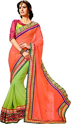 Kjp Villa Women\'s Georgette orange Free Size embroidery Saree With Blouse Pics (zeel saree-153)