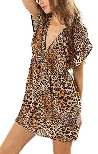 Bao Core Damen Sommerkleid StrandKleid ärmellos lose Neckholder Chiffon Rock Frauen Minikleid Partykleid elegant Zebra/Violett Leopard/Kaffee Leopard/Farbbalken Zebra&Violett Leopard&Kaffee Leopard&Farbbalken