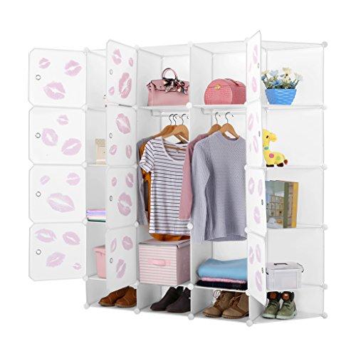 LANGRIA Schuhschrank 12-Kubus DIY Modular Garderobenschrank Kleiderschrank mit Aufkleber mit verschiedenen Kategorie-Icons Milchig Weiß