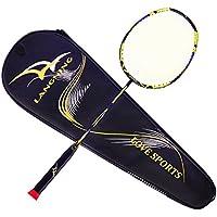 Juego de raqueta de Badminton, de fibra de carbono 7U, con bolsa de transporte, 68 g, amarillo