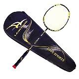 Raquette de badminton légère en fibre de carbone 7 microns avec sac de transport, 68 g, jaune