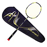 Raqueta de bádminton (serie el ligero de langning, Full 100% de fibra de carbono raqueta de disparo individual 7U ofensiva defensiva raqueta con bolsa