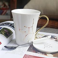 Idea Regalo - hokkk Tazza di Ceramica Europea Semplice 12 Zodiaco Coppia Carina Coppia di Tazze di Coppia Tazza Tazza di Copertura Tazza Creativa 300 ml Vergine
