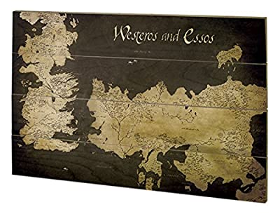 Pyramid International sw11393p Game of Thrones (Westeros and essos antique map) murale en bois en bois Multicolore 40 x 2,5 x 59 cm