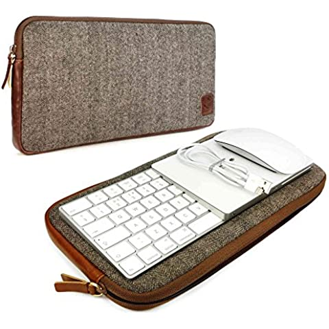 Tuff-Luv Herringbone Tweed funda de viajes para el enlace Apple Magic Keyboard 1 & 2 / Mouse 1 & 2 / Trackpad 1 & 2 -