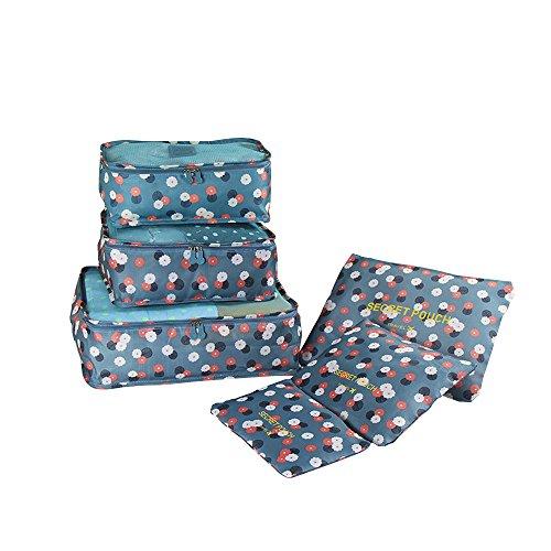 Baffect® Reise Gepäck Verpackung Cube Organizer Taschen Wasserdichte Polyester und Mesh Kosmetik Fall Kleidung Unterwäsche Schuhe Koffer Gepäckaufbewahrung Taschen Set von 6 Stück (Blume) - Mesh-zwei Stück Höschen
