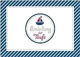 Erhältlich im 1er 4er 8er Set: Einladungskarte zur Taufe Einladung zur Taufe Klappgrußkarte Taufkarte in blau gestreift für einen Jungen mit Einem Boot (Mit Umschlag) (8)