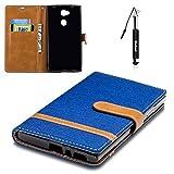 Sony Xperia L2 Hülle, Sony Xperia L2 Tasche Leder, Huphant Flip Case Leder [Mixed-Color Jean Serie]PU Leather Case Wallet Case Magnet Case Schutzhülle Klappbar für Sony Xperia L2 (5,5 Zoll) - Blau