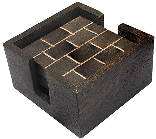 Untersetzer für Gläser Rot Handwerk Holz Dekor Küche 10 x 5 x 5 Cm (Glas-wohnzimmer-akzent-tabelle)