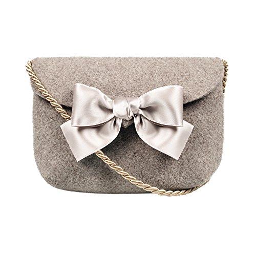 Almbock Trachten-Tasche Lilly in taupe - Trachtentasche handmade, handgemacht, aus 100% echtem Wollfilz, Tasche mit (Trachten Männer Der Schweiz Für)