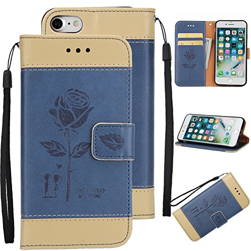 Ecoway Para iPhone 7/7G (4,7 zoll) Funda, Amantes de Rosa(Azul) PU Leather Cubierta , Función de Soporte Billetera con Tapa para Tarjetas Soporte para Teléfono