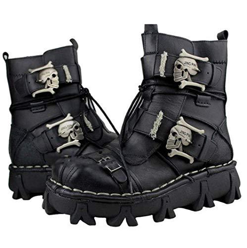VISTANIA Mens Martin Boots Genuine Leder Leder Waterproof High Boot Army Boots Gothic Skull Punk Motorcycle Steampunk Schuhe Martin Western Cowboy Boots Uniform Boots,Black,44 -