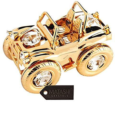 24K Gold Plated Crystal Studded Open Top Jeep 4WD Off Roader Ornament by Matashi