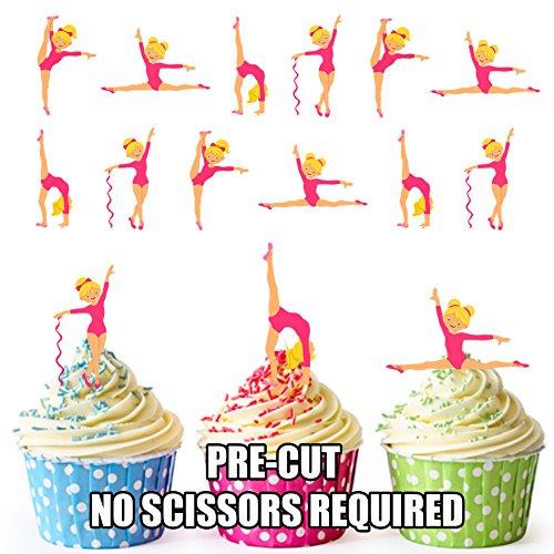 prédécoupés Pretty Rose gymnastique Filles – comestible pour cupcakes/gâteau Décorations (lot de 12)