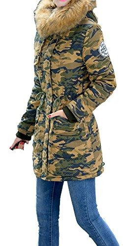 Damen Mantel Winter Jacke Damen mit Fellkapuze Camouflage Mantel Damen Winter Parka Lang Gelb Camouflage