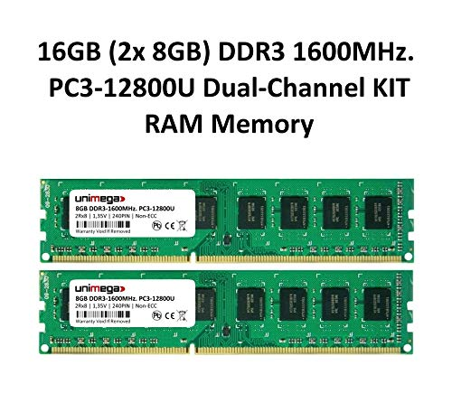 unimega 16GB (2X 8GB) Dual Channel KIT DDR3 1600MHz. PC3-12800U 240PIN Non-ECC PC RAM Speicher Memory -