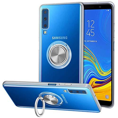 Vunake Galaxy A7 2018 Hülle, Silikon TPU Slim Cover Transparent Ultradünn Handyhülle mit 360 Grad Ring Stand Magnetische Autohalterung Schutzhülle Case für Samsung Galaxy A7 2018-Clear -