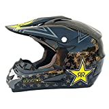 Adult Motocross-Helm MX Motorradhelm ATV Scooter ATV Helm CEC-Standard mit Brille Handschuhe Maske Bright Black/Five-Pointed Star (S, M, L, XL, XXL),BrightBlack,S54~55cm