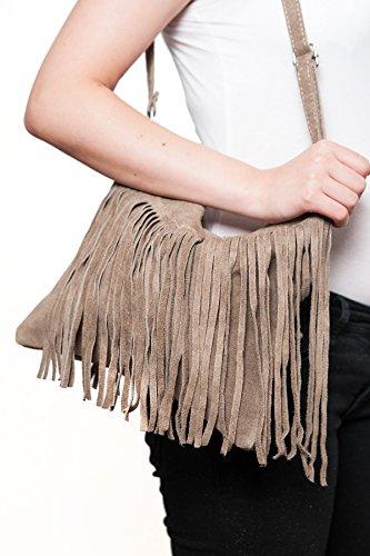 Borse a spalla , Borse a tracolla, sacchetto di frange, in pelle ( 26/ 23/ 2 cm), Mod. 2068 by Fashion-Formel Grigio