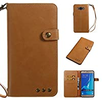 Galaxy J7 2016 Case, CUSKING Premium Soft Leather Slim Shockproof Wallet Case Flip Folio Notebook Style Cover with Card Slots and Magnetic Closure for Samsung Galaxy J7 2016 - Light Brown