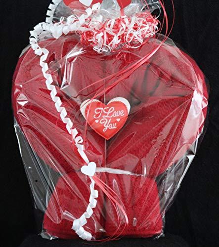 Geschenk als Herz, Badetuch als Herz zum Geburtstag, Muttertag und sonstige Anlässe in rot