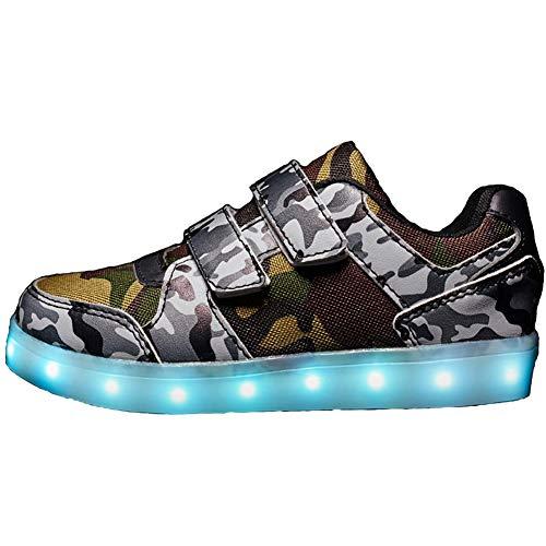 Vansney Klettverschluss or Schnürsenkel Kinder Camouflage LED-Licht Schuhe Jungen und Mädchen Radiant Schuhe Lässige Mode Sport Laufen Skateboard Turnschuhe