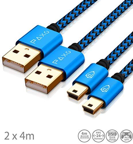2 x 4m Ladekabel für PS3 Controller, USB auf Mini USB Kabel lang, geflochtene Kabel (Braided), vergoldet, blau/schwarz