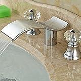 5151BUYWORLD top qualità rubinetto in ottone cromato doppia maniglia lavabo con manopole Deck Mount Bright Hot Cold mixer Tapsfor bagno cucina casa Gaden, nichel,