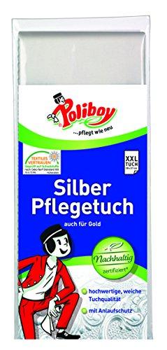 Poliboy - Silber Pflege Tuch - Spezialpoliertuch zur Pflege und Reinigung von Echtsilber und versilberten Gegenständen - 28 x 37 cm - Einzeln - Made in Germany