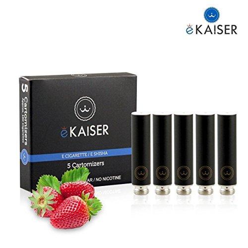 E-Shisha | E-Liquid 5er Pack Schwarz Cartomizer | Erdbeere-Geschmack | E-Zigarette | für eKaiser Wiederaufladbar E-Shisha Zigarette