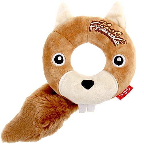 GiGwi 6243 Hundespielzeug Plush Friendz Eichhörnchen aus Schaumgummi und Plüsch, mit Quietscher