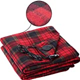 Mignon84Cook Electric Heating Blanket,12V Adjustable Travel Portable Lattice Pattern Heated Throw for car travel and camp