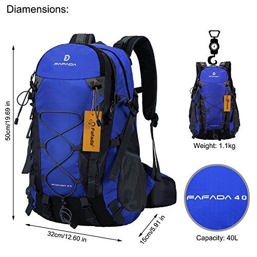Imagen de fafada 40l unisex  de senderismo viaje marcha del deporte casual escalada trekking con cubierta de lluvia impermeable azul alternativa