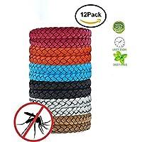 Fuhaoo Pulseras repelentes de mosquitos, 12 unidades, Con pulsera de piel que protege contra los insectos para adultos y niños, sin DEET