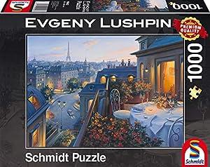 Schmidt Spiele Puzzle 59562-Puzzle Evgeny lushpin, 1000Piezas, Roman de Noche en París