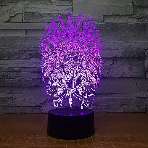 Luz Nocturna Infantil, Lampara Escritorio Lampara 3D LED indio Lámpara de Mesa 7 Colores Diferentes Luz De Noche Regalos Cumpleaños Niños