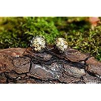 Pendientes de gypsophila - boho vintage botánico semiesfera de vidrio con flores secas naturales - 15mm - Regalos originales para mujer - Dama de honor - Boda- Aniversario - Regalo de Navidad