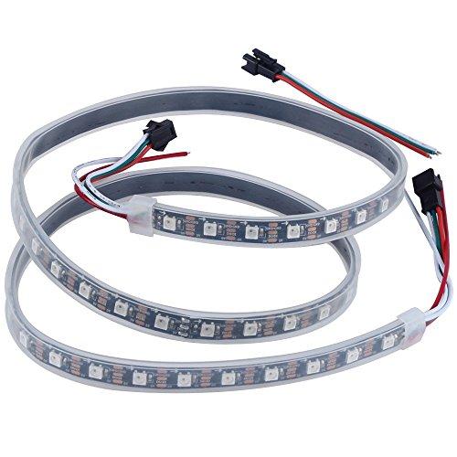 CHINLY 1m 60leds WS2812B Individuell adressierbar LED Streifen Licht SMD5050 RGB 60 Pixels Traumfarbe Wasserdicht IP67 Schwarz PCB 5V DC (Led Outdoor Streifen-lichter)