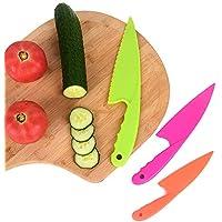 Forepin Cuchillo de Cocina para Niños Cuchillos de cocina seguros para Pan, Lechuga y Ensalada, Agarre Firme, Bordes Dentados, Plástico sin BPA, 3 Piezas