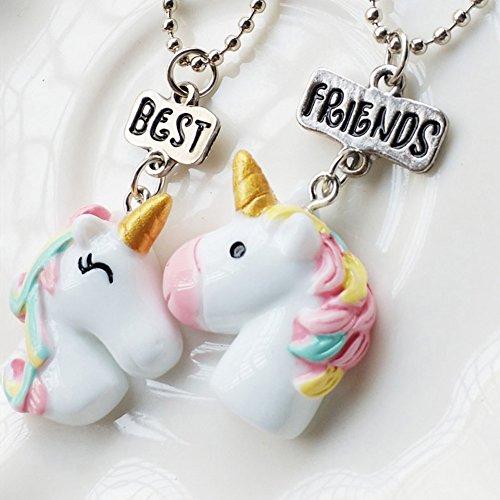 Preisvergleich Produktbild yeshi 2/Set Einhorn Anhänger Kette Halskette Schmuck Best Friends Buchstabe Kinder Geschenke