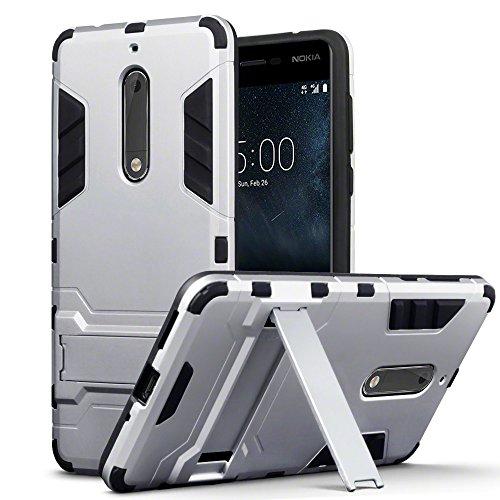 Terrapin, Kompatibel mit Nokia 5 Hülle, Silikon + Polycarbonat Tasche mit Standfunktion - Silber EINWEG