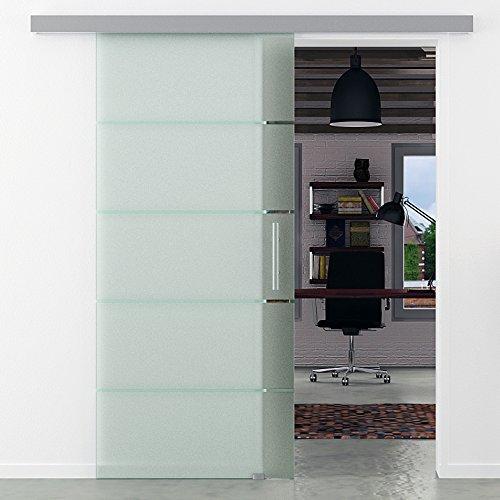 Glasschiebetür 900x2050 mm 5 waagerechte Streifen gestreift Levidor Basic-System komplett Laufschiene und Stangengriffe Schiebetür aus Glas für Innenbereich ESG-Sicherheitsglas
