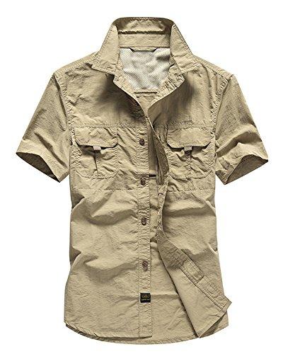 Herren Camping Outdoor Reise Klettern Hemden Freizeit T-Shirts Kurzarm Hemd Tops Khaki M -