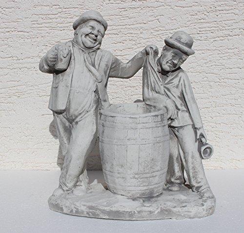 Unbekannt Beton Figur Dick und Doof mit Bierkrügen am Fass zum Bepflanzen H 40 cm Dekofigur Gartenskulptur