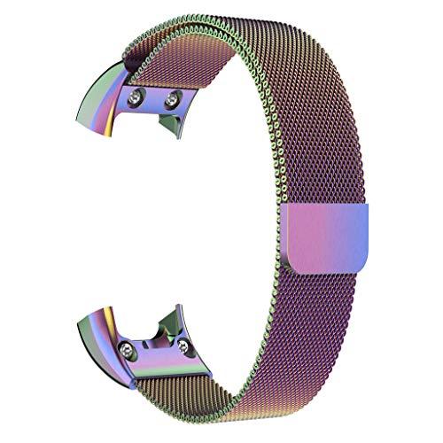 Nourich Uhrenarmband + HD-Film für Garmin VIVOsmart HR , Milanese Magnetic Loop Edelstahlarmbandarmband mit Magnetverschluss für Damen Herren (Multicolor)