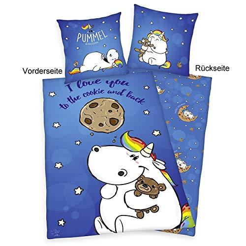 Pummeleinhorn Bettwäsche mit Wendemotiv (Renforcé) – Cookiemoon (blau mit Sternen)
