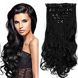 S-noilite - Full Clip tete dans les extensions de cheveux boucles Wavy frisé 8 Pcs 43cm-170g noir foncé