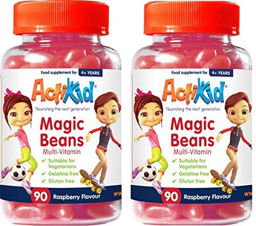 Deal of the Day 2x ActiKid Magic Beans Multi-Vitamin 90x Raspberry Flavour, Gelatin free, multivitamin for children