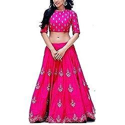 Purva Art Girls Royal Zoya Pink Silk Lehenga Choli WIth Dupatta Set (RZPLC_041_Soft Net_Lace Border)